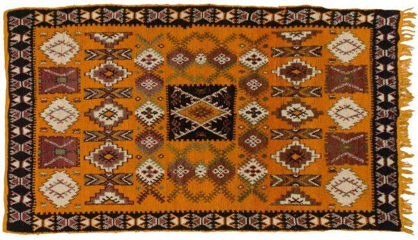 5x9 moroccan orange oriental rug 013575