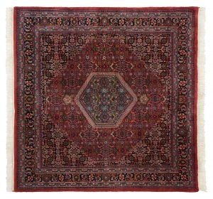 6×6 Bijar Oriental Red Hand-Knotted Square Rug