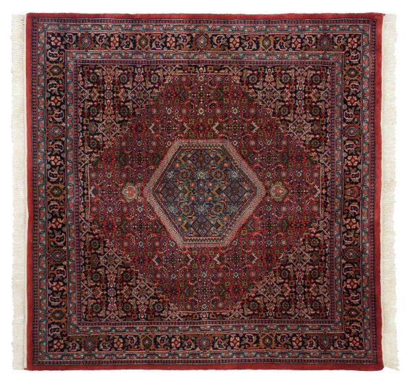 6x6 bijar red oriental square rug 036078