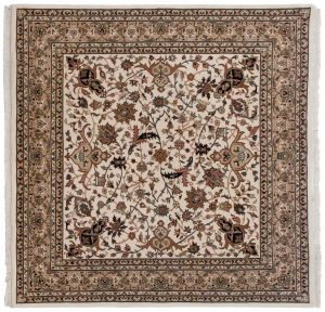 6×6 Isfahan Oriental Ivory Hand-Knotted Square Rug
