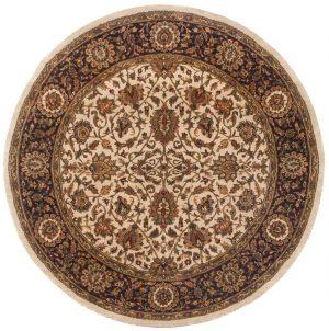 6×6 Jaipur Oriental Beige Hand-Knotted Round Rug