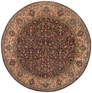6×6 Jaipur Oriental Burgundy Hand-Knotted Round Rug