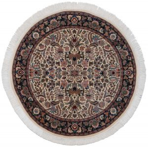 6×6 Persian Oriental Ivory Hand-Knotted Round Rug