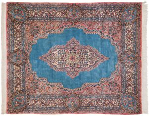 6×7 Semi-Antique Persian Kerman Oriental Blue Hand-Knotted Rug