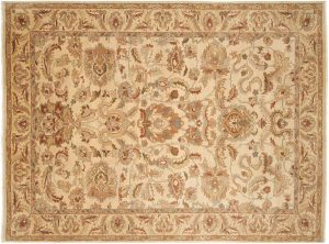 6×8 Vintage Agra Oriental Ivory Hand-Knotted Rug