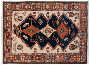6×8 Azeri Oriental Blue Hand-Knotted Rug