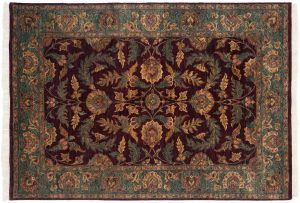 6×8 Agra Oriental Brown Hand-Knotted Rug