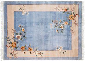 6×8 Vintage Kashan Oriental Blue Hand-Knotted Rug