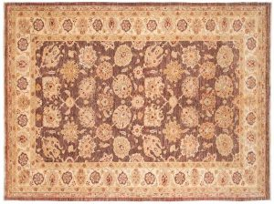 6×8 Chobi Oriental Brown Hand-Knotted Rug
