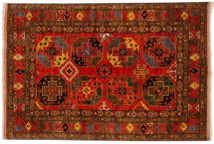 6×8 Ersari Oriental Rust Hand-Knotted Rug