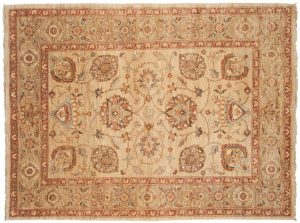 6×8 Kashan Oriental Ivory Hand-Knotted Rug