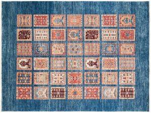 6×8 Kazak Oriental Blue Hand-Knotted Rug
