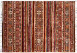 6×8 Kazak Oriental Multi Color Hand-Knotted Rug