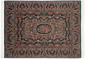 6×8 Aubusson Oriental Green Hand-Knotted Rug