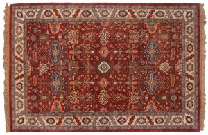 6×8 Heriz Oriental Red Hand-Knotted Rug
