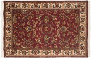 6×8 Sarouk Oriental Red Hand-Knotted Rug