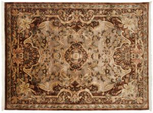 6×8 Savonnerie Oriental Mauve Hand-Knotted Rug