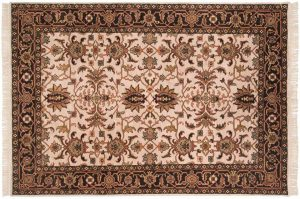 6×8 Sultanabad Oriental Ivory Hand-Knotted Rug
