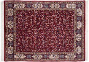 6×8 Vintage Kerman Oriental Red Hand-Knotted Rug