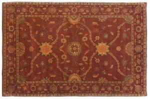 6×9 Vintage Agra Oriental Peach Hand-Knotted Rug