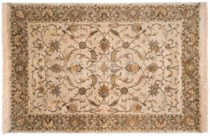 6×9 Floral Oriental Beige Hand-Knotted Rug