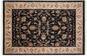 6×9 Floral Oriental Black Hand-Knotted Rug