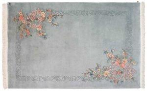 6×9 Vintage Floral Oriental Grey Hand-Knotted Rug