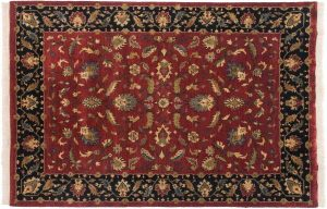 6×9 Floral Oriental Red Hand-Knotted Rug