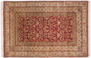 6×9 Art Nouveau Oriental Burgundy Hand-Knotted Rug