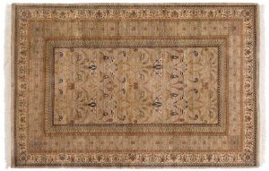 6×9 Art Nouveau Oriental Gold Hand-Knotted Rug