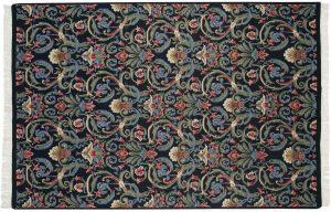6×9 Vintage Arts & Crafts Oriental Black Hand-Knotted Rug