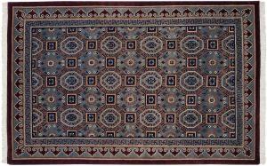 6×9 Vintage Arts & Crafts Oriental Blue Hand-Knotted Rug