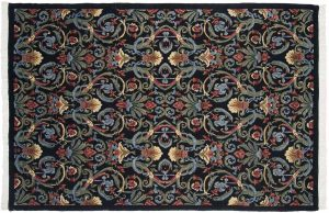 6×9 Arts & Crafts Oriental Black Hand-Knotted Rug