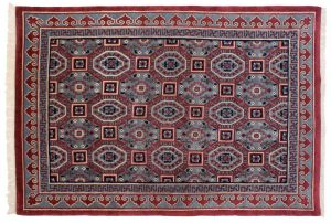 6×9 Arts & Crafts Oriental Blue Hand-Knotted Rug