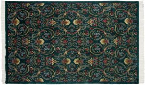 6×9 Arts & Crafts Oriental Green Hand-Knotted Rug