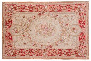 6×9 Aubusson Oriental Beige Fine Needlepoint Weave Rug
