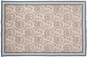 6×9 Floral Oriental Beige Fine Needlepoint Weave Rug