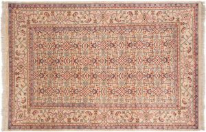 6×9 Herati Oriental Beige Hand-Knotted Rug