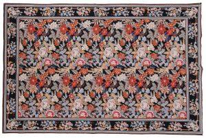 6×9 Floral Oriental Black Fine Needlepoint Weave Rug