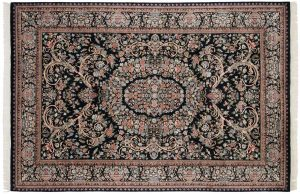 6×9 Aubusson Oriental Black Hand-Knotted Rug