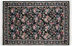 6×9 Tibetan Oriental Black Hand-Knotted Rug