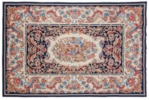 6×9 Aubusson Oriental Blue Fine Needlepoint Weave Rug