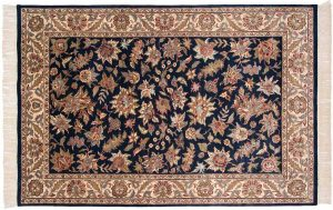 6×9 Floral Oriental Blue Hand-Knotted Rug
