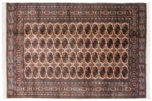 6×9 Vintage Bokhara Oriental Beige Hand-Knotted Rug