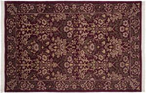 6×9 Vintage William Morris Oriental Burgundy Hand-Knotted Rug