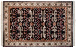 6×9 Vintage Caucasian Oriental Blue Hand-Knotted Rug