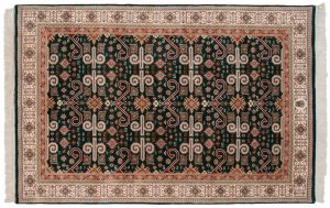6×9 Caucasian Oriental Green Hand-Knotted Rug