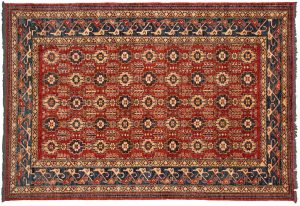 6×9 Caucasian Oriental Red Hand-Knotted Rug