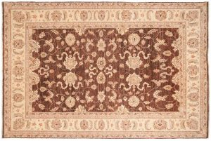 6×9 Chobi Oriental Brown Hand-Knotted Rug