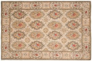 6×9 European Oriental Ivory Hand-Knotted Rug